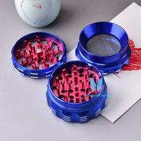 Blaue und rote 4-Lagen-Stücke Aluminiumlegierungsmetall-Kräuter-Tabakmühle-Brecher