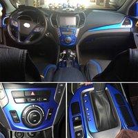 For Hyundai SantaFe IX45 2013-18 Interior Central Control Panel Door Handle Carbon Fiber Stickers Decals Car styling Accessorie
