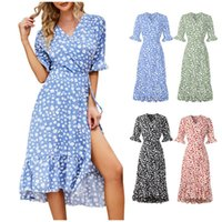 Casual Dresses Women's Floral Print Short Sleeve Dress High Waist Split Elegant Bohemian V-Neck A-Line Printed