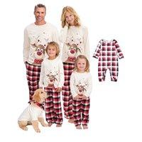 Christmas Deer Sleep Heightwear Plaid Famille Association Pyjamas Ensemble Père mère Enfants Baby PJS Tops + Pantalon Maman et moi Vêtements de chien