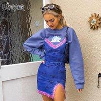 Waatfaak Blue Floral Print Летнее скольжение платье женские кружевные лоскутные камины Cami Spaghetti Backbloe Seashy Sundress Party Split 2021 повседневные платья