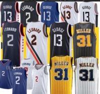 Mens profissional Kawhi 2 Devin Paul 13 George Los Angeles Basquete Jersey Indiana Reggie 31 Miller Basketball Camisas Tamanho S-2XL