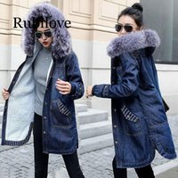 Women's Jackets European Ladies Winter Jeans Jacket Hooded Big Fur Collar Denim Female Warm Wool Lining Jean Coat Women Large Size 5XL