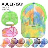 Kravat boya at kuyruğu şapkalar 6 renkler örgü hollow dağınık topuz beyzbol şapkası kamyon şoförü şapka yaz güneş kapaklar deniz gemi lla939