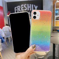 Korean fashion colorful rainbow gradient color Phone case For iphone 13 12 Pro 11 Pro Max 7 8 Plus SE 2020 Xr X Xs Max soft Cover