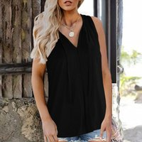 Women's Tanks & Camis Tank Tops Summer Sexy V Neck Sleeveless Veat Solid Color Beach Fashion Cami Blouse Plus Size Women Clothes