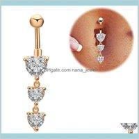 Glocke Button Ringe am reizvollen 316l chirurgischen Edelstahl Piercing-Körper Schmuck Bauchkette Mode drei Herzen Zirkon Nabel Ring BR1