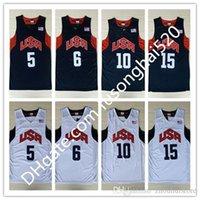 Vintage 2012 Dream Team Ten Jersey Kevin 5 Durant Kebe 10 Bryamt James 12 Harden Chris 13 Paul Basketball Trikots 8
