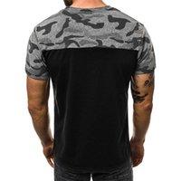 Moda İnce Erkek Tops Yaz Baskı Kamuflaj O-Boyun Erkek Tişörtleri Panelli Nefes Kısa Kollu Erkek Tshirt