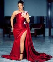 2021 Plus Size Arabic Aso Ebi Burgundy Mermaid Sexy Prom Dresses One Shoulder High Split Lace Evening Formal Party Second Reception Gowns ZJ430