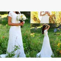 Boho 2017 Country Summer Wedding Dresses Lace Short Sleeves Mermaid Bohemian Beach Bridal Gowns Plus Size