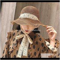 قبعات القبعات، والأوشحة قفازات الأزياء ولديسة سقوط التسليم 2021 الصيف المرأة القبعة القبعة الدانتيل bowknot الشريط قابل للتعديل رئيس محيط foldab