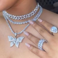 Chains 2021 Hip Hop Crystal Big Butterfly Choker Necklaces For Women Bling Rhinestone Miami Cuban Link Chain Necklace Punk Jewelry