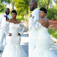 Hot Plus Size Mermaid Wedding Dresses Off the Shoulder Sheer Long Sleeved Trumpet Beaded Lace Tulle Bridal Gowns Sweep Train La