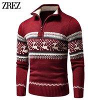 Men Autumn Casual Jacquard Half Zip Polo Sweater Cardigan Jacket Men Winter Long Sleeve Mock Neck Sweater Pullover Men 211018