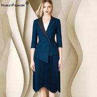 HarleyFashion Frauen Sommeranzüge Halbhülse Blazer Faltenrock Solid Office Lady Asymmetrische 2 Stück Sets High Qualität Zwei Stück Kleid