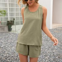 Women's Tracksuits Shorts Set Summer Solid Sleeveless O-Neck Vests Casual Loose Straight Short Suits Lady Homewear Female Two Pieces Sets