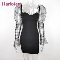 Karlofea Frauen Elegante Alltagsabnutzung Outfits Kleid Sexy Von Schulter Sheer Mesh Patchwork Puff Sleeve Bodycon Mini Partykleid