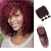 Rotwein Haarwebart 99J Burgund Peruanisches Kinky Curly Human Hair Bündel Kinky Curly Jungfrau Haarverlängerungen Peruanische Gewebe 10 '' - 3