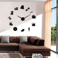 Wall Clocks Tailor Shop Decorative DIY Large Clock For Living Room Vintage Sewing Machine Tools Mirror Giant Sticker