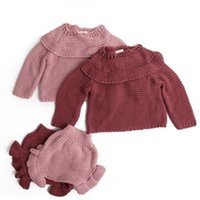 Baby knitting Clothing Sets Two Girls Suit Knit 0-2 Year Cotton Long Sleeve Blouse + Lotus Leaf Shorts Set 210429