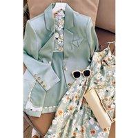 Two Piece Dress Mulheres blazer vestido elegante de duas peças vestidos femininos moda terno outono fried street jacket impresso s