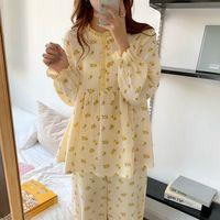 الحلو الكشكشة الفتيات المطبوعة أزهار اللون ضرب الأزياء الكورية زائد النوم الدافئة لطيف ملابس المنزل منامة مجموعات 210417
