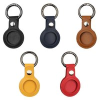 Keychain Anti-lost Faux Leather Case Cover Anti-Scratch Tracking Locator Protector Replacement For IOS AirTag Hooks & Rails