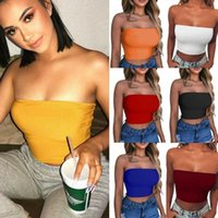 Bustiers & Corsets Sexy Women's Tube Tops Strapless Crop Top Solid Color Elastic Boob Bandeau T-Shirt Summer Camis Camisole Female