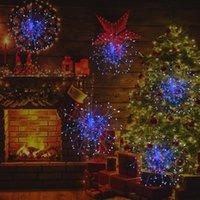 Wandleuchte LED-Weihnachtstruktur Feuerwerk Lichter Explosionssterne Kleine Schnur Kupferdraht Solar Fernbedienung Dekorativ