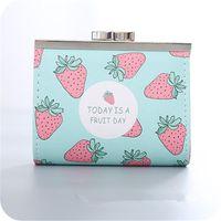 Coin Purses PACGOTH Lock Catch Opener Kawaii Girl's Purse PU Leather Short Cartoon Fruits Pattern Strawberry Banana Bag 1 PC