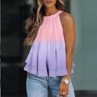 Women's Tanks & Camis 2021 Summer Women Off Shoulder Halter Blouse Shirts Sexy Gradient Floral Print Tops Ladies Elegant Patchwork Shirt Blu