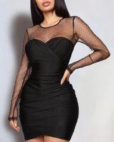 Mode Frauen Sexy Bodycon Minikleid Elegante Langarm Abend Party Club Dames Kleider Damen Slim Vestidos 2021 Casual