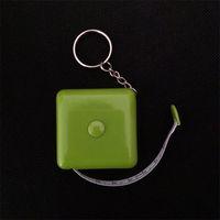 Mini nastro verde misura la pubblicità portachiavi di plastica quadrata di plastica 1.5M misura il logo personalizzato