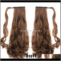 Extensions Products Drop Delivery 2021 Wholesale-Long Curly Brown Extension Synthetic Ponytail Fake Hair Ponytails Clips Natural Ponytail-Hai