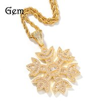 HIP HOP NOUVEAU Micro Inlaid Zircon Snowflake Pendentif Collier Real Gold Electroplating Simple Lovers Bijoux