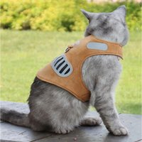 Dog Collars & Leashes Harness With Leash Adjustable Soft Suede Collar Reflective Cat Vest Walking Breathable Pet Pug Accessories