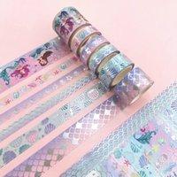 6 teile / satz Silberfolie Washi Tape Mermaid GirlGift Paper Scrapbooking Masking Tape Klebstoff Aufkleber Schreibwaren Deco Bänder 2016
