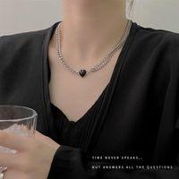 Chains Heart Necklaces Woman Clavicle Jewelry Womans Necklace Chain Pendant Ladies Silver Color Vintage European Stainless Naszyjnik