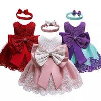 새로운 아기 소녀 드레스 키즈 레이스 민소매 얇은 얇은 얇은 구슬 생일 파티 드레스와 머리띠 유아 생일 공 가운 140 Q2