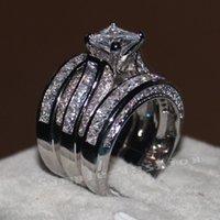 Vecalon Fine Jewelry Princess Cut 20ct CZ Diamond Compromiso Conjunto de anillo de banda de boda para mujeres 14kt Anillo de dedo lleno de oro blanco