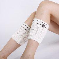 Crochet Knit Button Anklet Leg Warmer Short Boot Cuffs Toppers Leggings Autumn Winter Stockings Socks for Women Girls Clothing Black White Will and Sandy