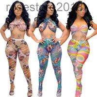 2021 verão mulheres duas peças calças definir sexy malha colheita top perspective tela impressa nightclub estilo sutiã sutiã fashion wear wear cy1095