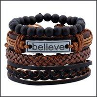Cuff Bracelets Jewelryretro Personality 4Pcs Set Jewelry Believe Suit Mens Cowe Retro Woven Diy Leather Bracelet Drop Delivery 2021 41Jfm
