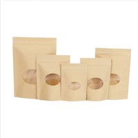 8 Sizes Brown Kraft Paper Stand-Up Bags Heat Sealable Resealable Zip Pouch Inner Foil Hollow Out Food Storage Packaging Bag BH5266 TYJ