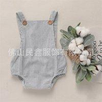 Ins inswest дизайнер девочка мальчик мальчик ползунки одежда твердая желтая синяя кнопка летом белье новорожденного пояса комбинезон новорожденных парень