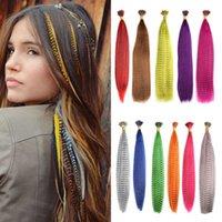 Mydiva 50 sztuk Kolorowe Strands Przedłużanie Syntetyczne Fałszywe Rainbow Overhead Fake Coloring Feather Do Włosów