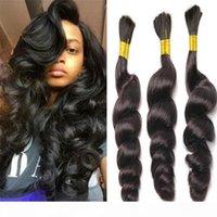 loose wave bulk hair for braiding 8A no attachment loose wave brazilian human braiding hair bulk 1b# human hair