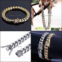 Link, Jewelry7 8 Inch 10Mm Iced Out Chains Bracelets For Men Hip Hop Luxury Designer Mens Bling Diamond Cuban Link Chain Bracelet 18K Gold P