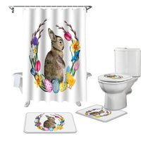 Shower Curtains Easter Spring Watercolor Egg Flower Curtain Toilet Lid Cover Bath Mat Set Bathroom Rug Bathtub Home Decor